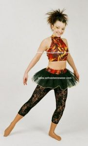 Disco Freestyle Strappy Crop Top Tutu Skirt and Lace Leggings Set