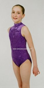 Velour Sleeveless Turtle Neck Dance Gymnastics Leotard by Jenetex