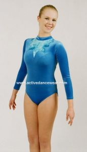 Long Sleeve Velour and Hologram Gymnastics Leotard