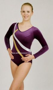 Gemma Long Sleeve Velour and Hologram Gymnastic Leotard
