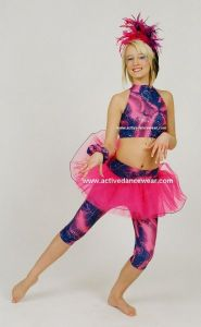 Disco Freestyle Strappy Crop Top Tutu Calf Leggings Set