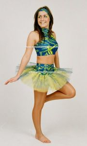Disco Freestyle Strappy Crop Top Hotpant Tutu Skirt Set