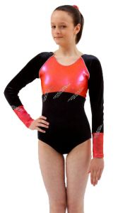 Long Sleeve Gymnastics Leotard in Grapefruit by Jenetex - California