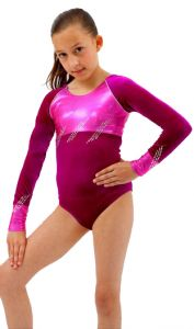 Long Sleeve Gymnastics Leotard in Cerise by Jenetex - California