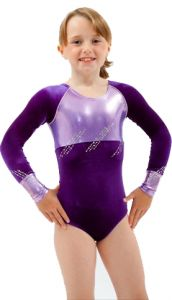 Long Sleeve Gymnastics Leotard in Grape by Jenetex - California