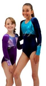 Long Sleeve Gymnastics Leotard in Navy Smooth Velour by Jenetex - California