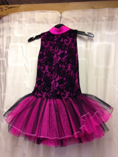 Disco Competition Over Lace Tutu Black Flo PinkOutfit