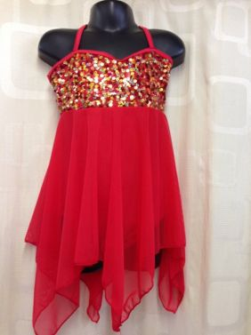 Contemporary Red Sequin Lyrical Slow Dance Dress