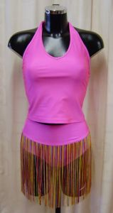 Pink T-Bar Halter Neck Top and Fringed Pants