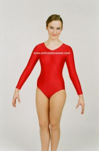 Jenetex - Nylon Lycra Long Sleeved Ruched Front Leotard