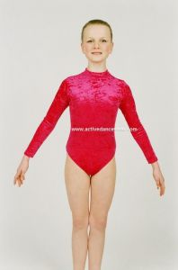 Long Sleeve Velour Turtleneck Dance Gymnastics Leotard by Jenetex