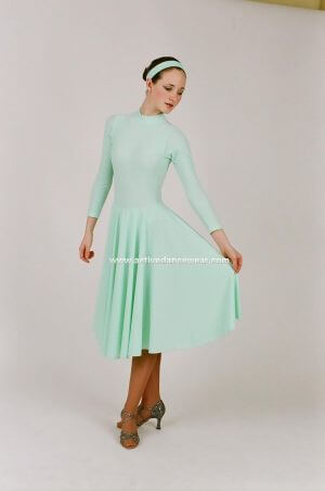 Long Sleeve Turtleneck Ballroom Dance Dress