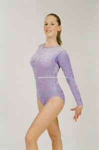 Velour Long Sleeve Dance Gymnastic Leotard by Jenetex