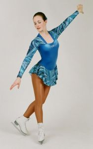 Long Sleeve Fishtail Ice Skating Leotard by Jenetex