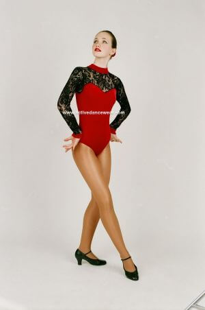 Long Sleeve Dance Leotard in Smooth Velour and Lace