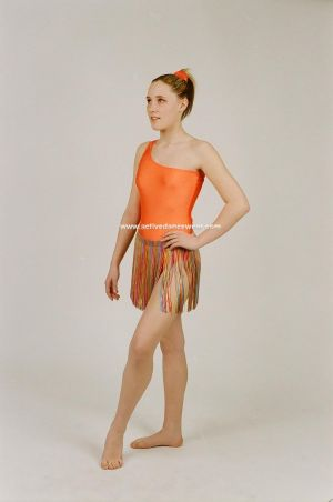 One Shoulder Leotard with Motif and Skirt