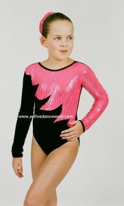 Grace long Sleeve Velour and Hologram Gymnastic Leotard