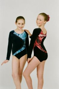 Long Sleeve Gymnastics Leotard in Velour with Hologram by Jenetex - Hayley