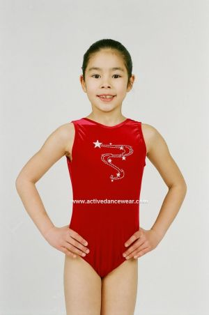 Sleeveless Gymnastics Leotard with Motif in Velour by Jenetex
