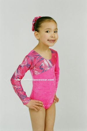 Swansea Long Sleeve Velour and Hologram Gymnastic Leotard