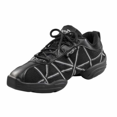 Capezio DS19 Web Dance Sneakers Black and Reflective Silver