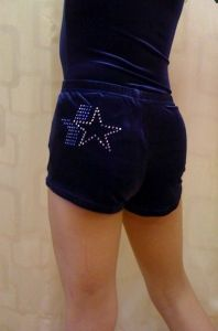 Girls Navy Velour Gymnastics Shorts Diamante Motif