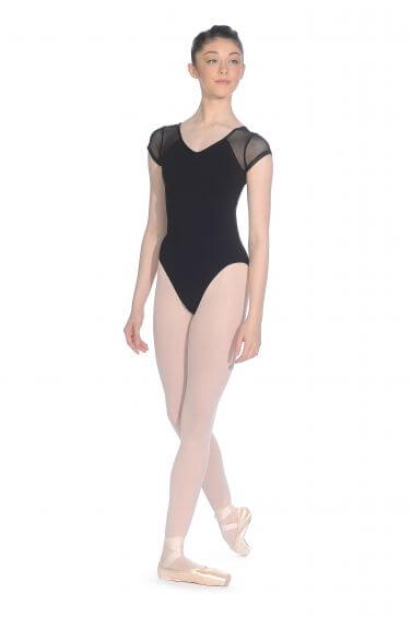 Black Cotton Cap Sleeved Leotard - Roch Valley CTCAP