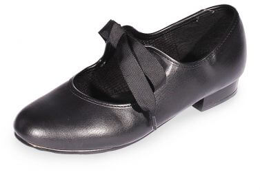 Black PU Ribbon Ready Low Heel Tap Shoes LHR